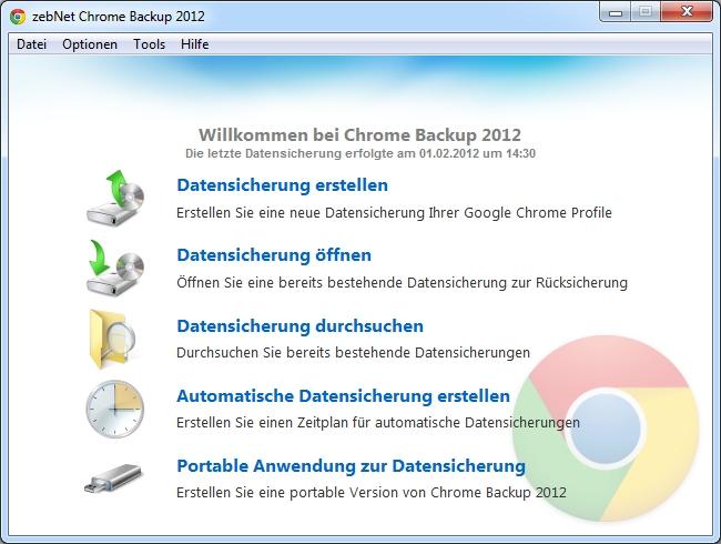 Chrome Backup 2012 Screenshot