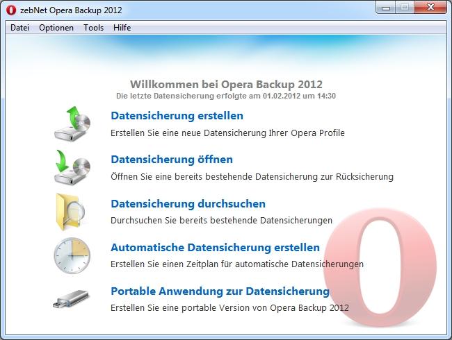 Opera Backup 2012 Screenshot