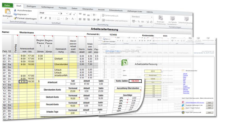 Arbeitszeiterfassung für MS Excel Screenshot