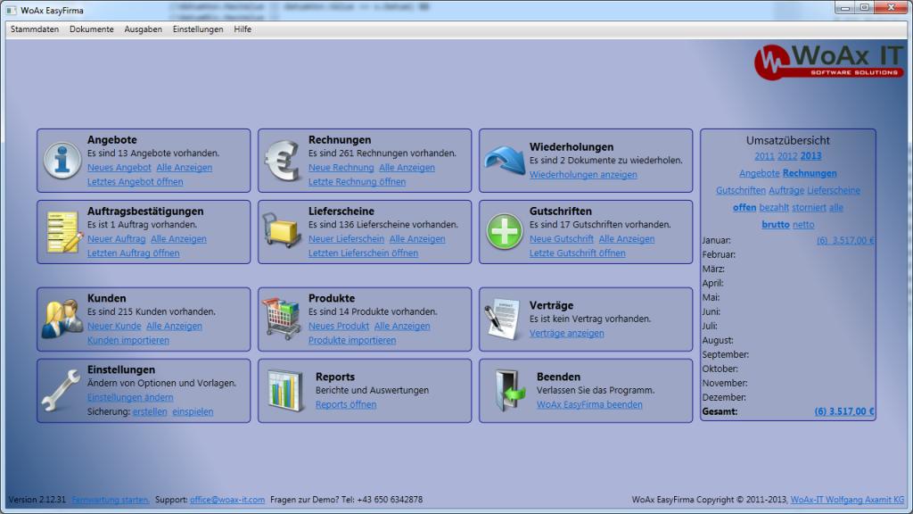 WoAx EasyFirma 2.12.37 Screenshot