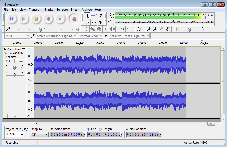 Audacity 2.1.2 Screenshot