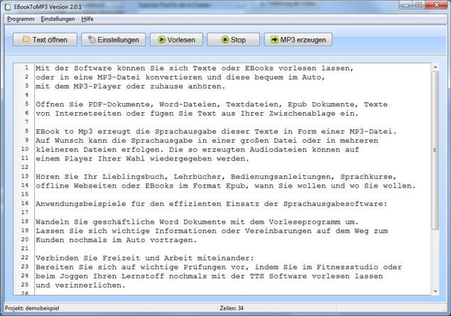 EbookToMP3 2.0.1 Screenshot