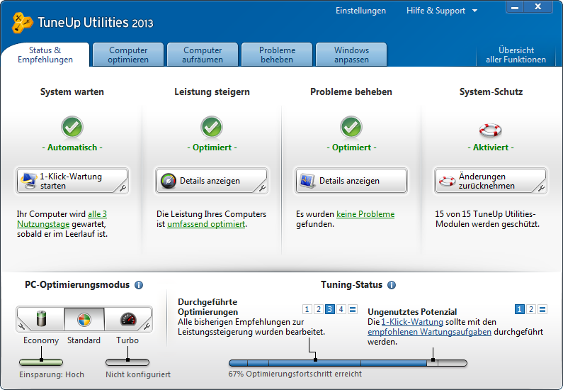 TuneUp Utilities 2013 Screenshot