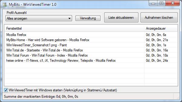 WinViewedTimer 1.0.3 Screenshot