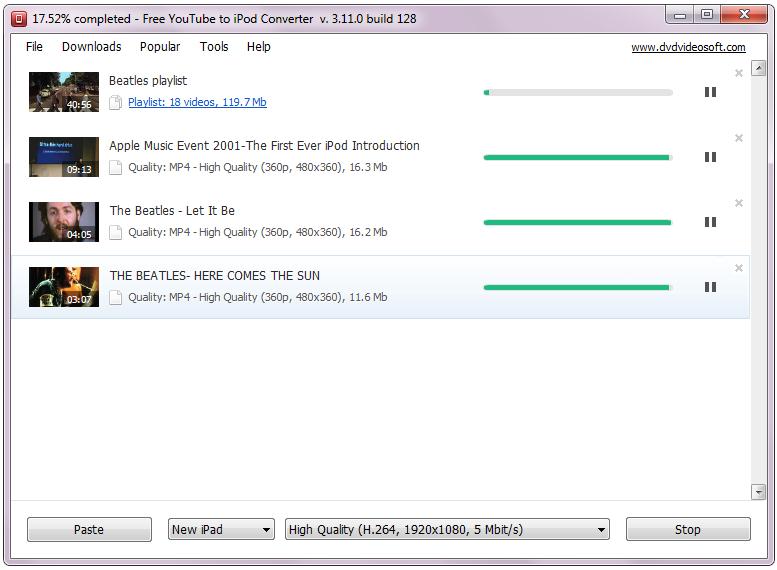 Free YouTube to iPod Converter 3.11.3.610 Screenshot