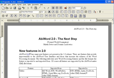 AbiWord 2.9.2 Screenshot