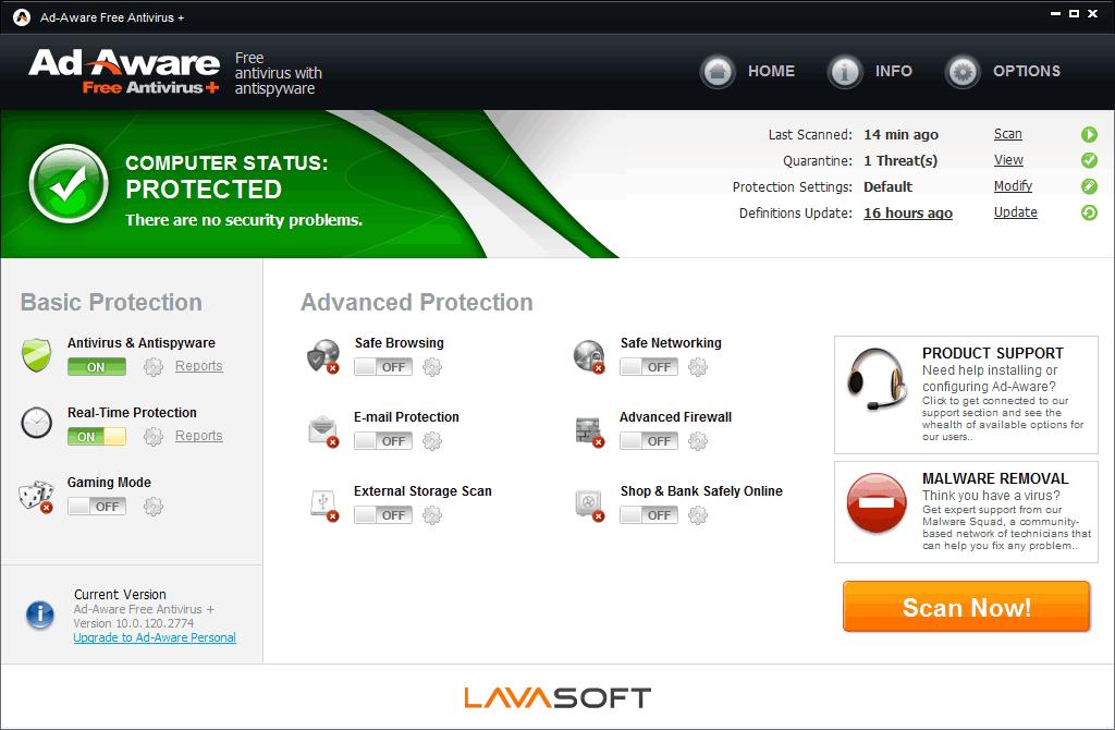 Ad-Aware Free Antivirus 11.5.202.7299 Screenshot