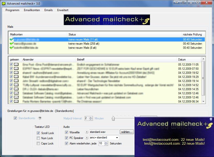 Advanced Mailcheck Screenshot