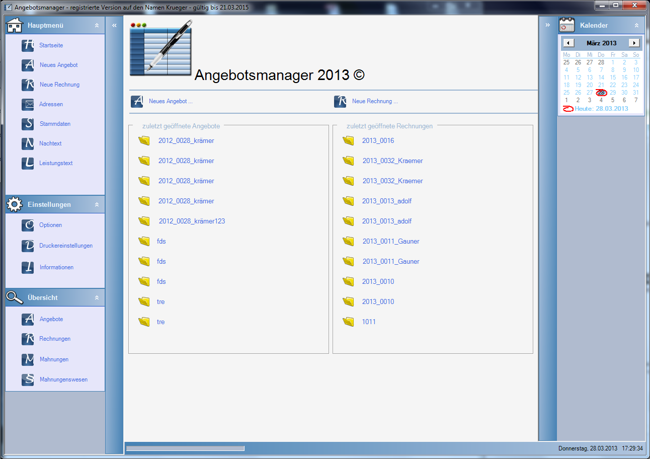 Angebotsmanager 2013 3.5.0.3 Screenshot