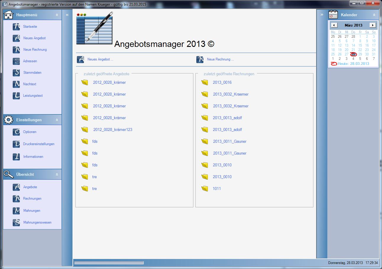 Angebotsmanager 2013 Screenshot