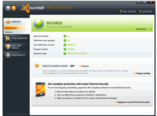 avast! Free Antivirus 8.0.1479 Screenshot