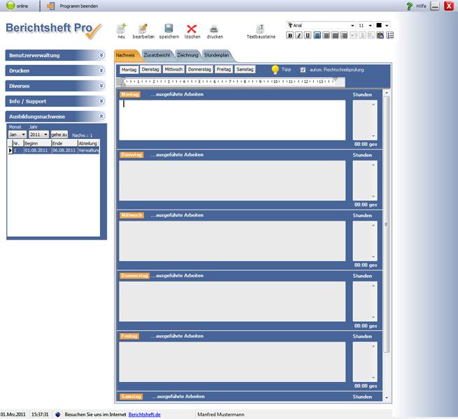 Berichtsheft Pro 3.0 Screenshot