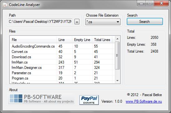 CodeLine Analyser Screenshot