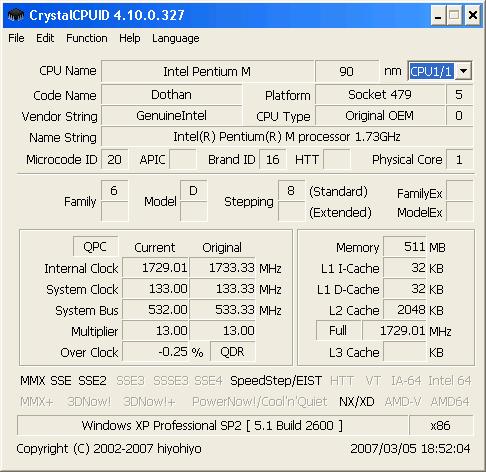 CrystalCPUID 6.1.12 Screenshot