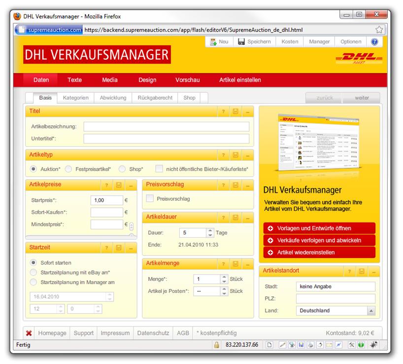 DHL Verkaufsmanager Screenshot