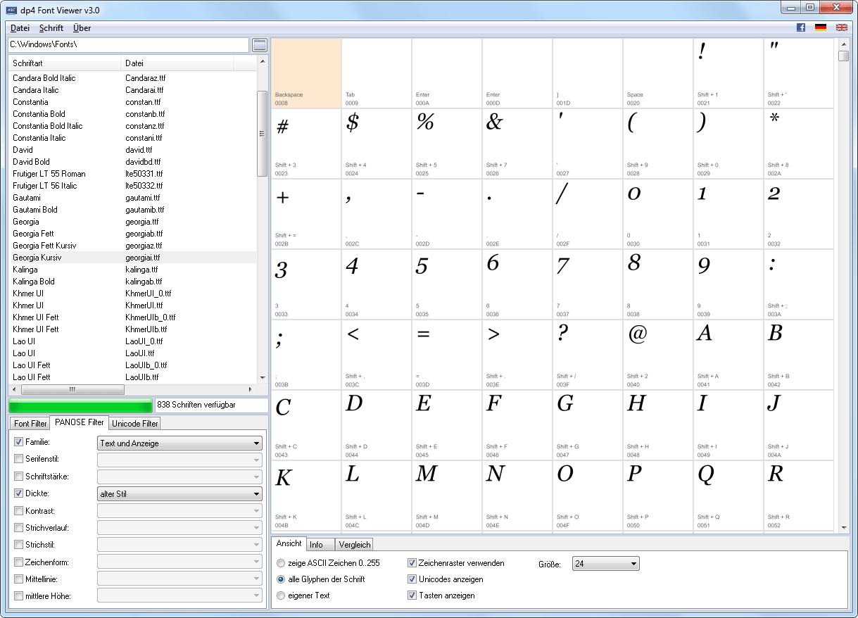 dp4 Font Viewer 3.0 Screenshot