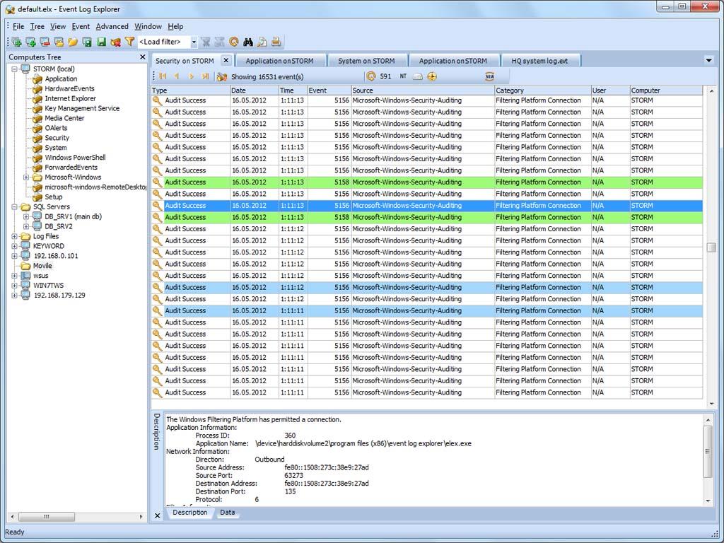 Event Log Explorer Screenshot
