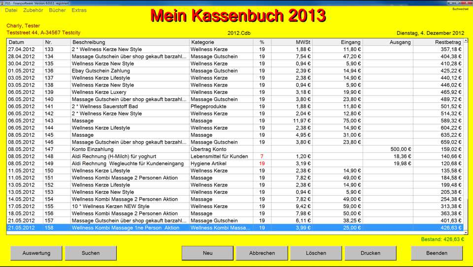 FGS - Kassenbuch 6.0.2.3 Screenshot
