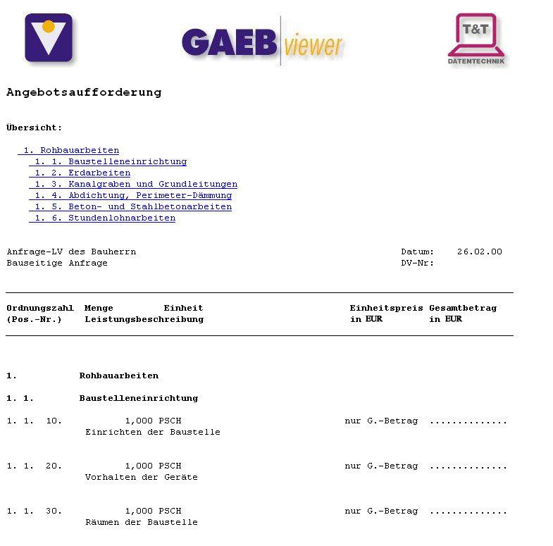 GAEB-Viewer 8 Screenshot