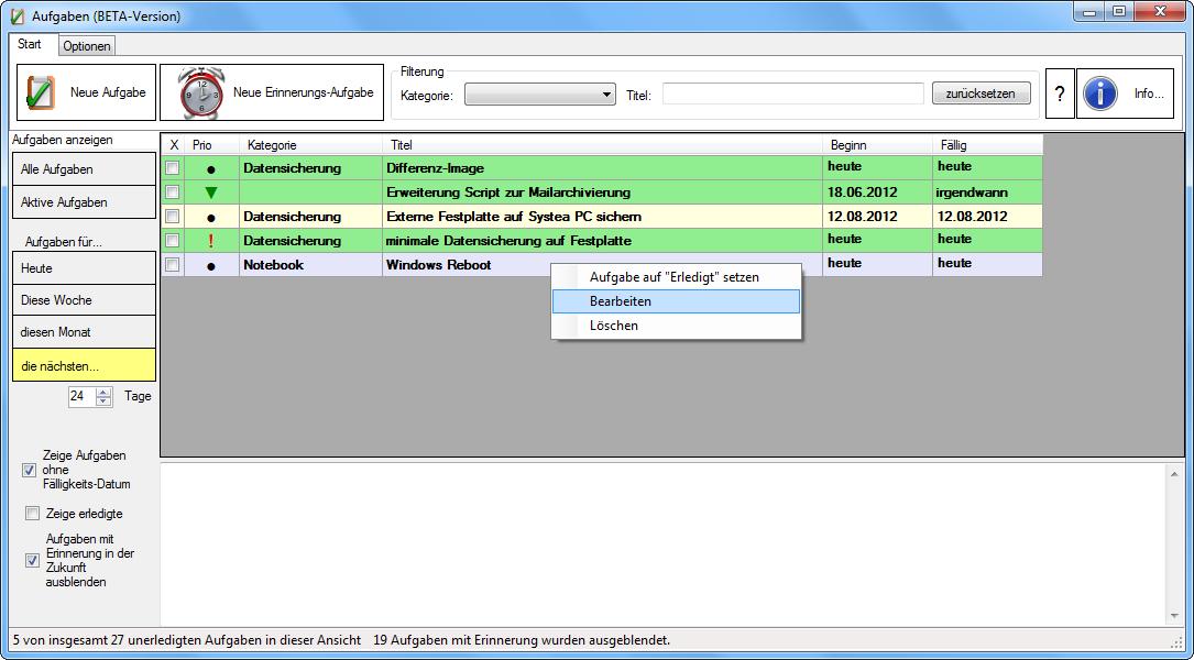 Holliesoft Aufgaben 1.0.1.0 Screenshot