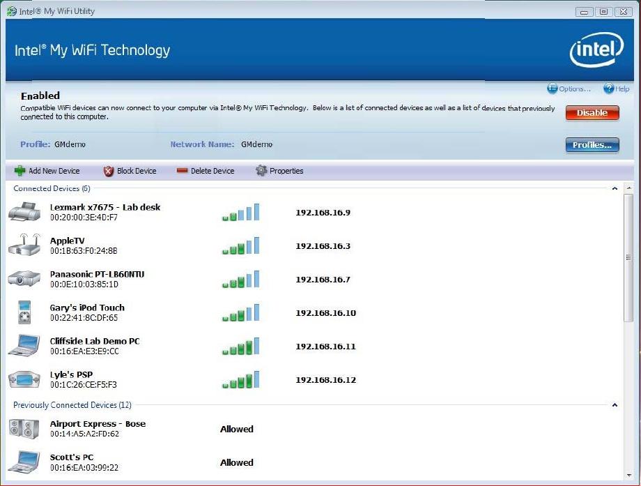 Intel PROSet/Wireless Software and Drivers Screenshot