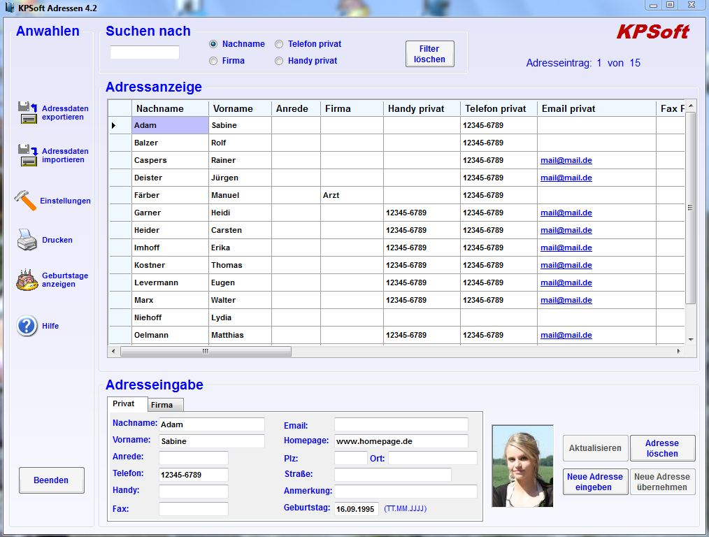 KPSoft Adressen 4.1 Screenshot