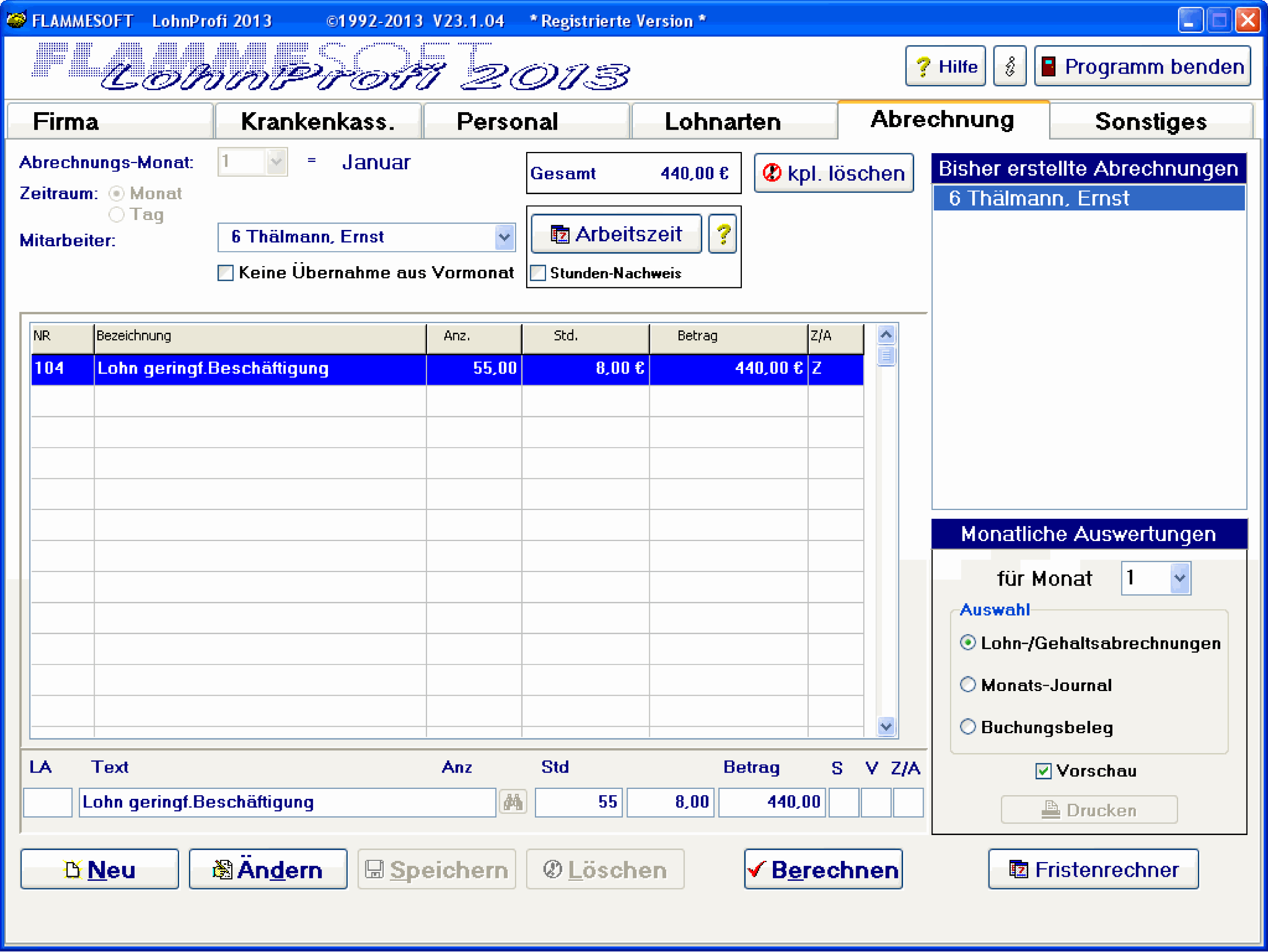 FLAMMESOFT LohnProfi 2013 23.1.03 Screenshot