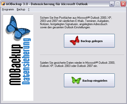 MOBackup - Outlook Backup Software Screenshot