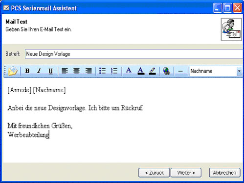 PCS Serienmail Assistent 2.0 Screenshot