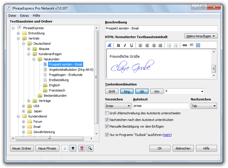 PhraseExpress 9.1.14 Screenshot