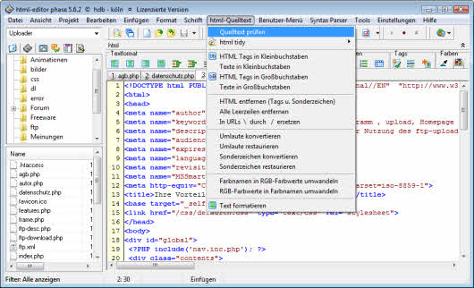 HTML Editor Phase 5.6.2 Screenshot