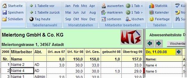 Excel 2007 Abwesenheits-/ Urlaubsplaner Screenshot