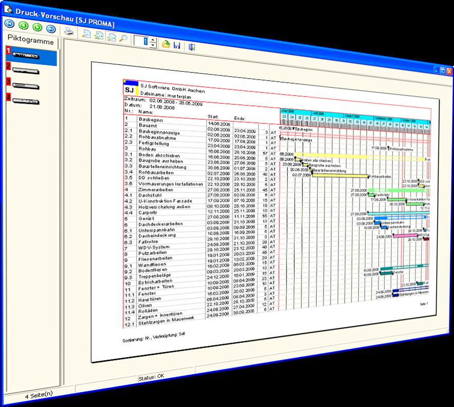 WESA Bauzeitenplan SJ PROMA 5.0 Screenshot