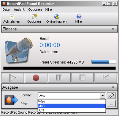 RecordPad Soundrekorder 5.11 Screenshot