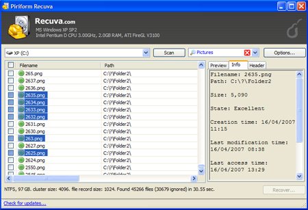 Recuva 1.44.778 Screenshot