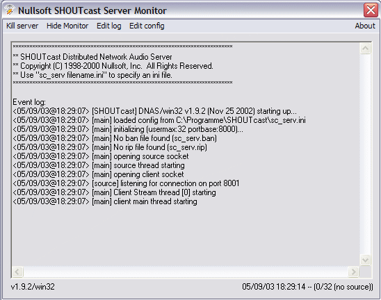 SHOUTcast Server 2.0 Beta Screenshot