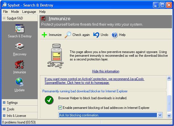 Spybot - Search & Destroy 1.6.2 Screenshot