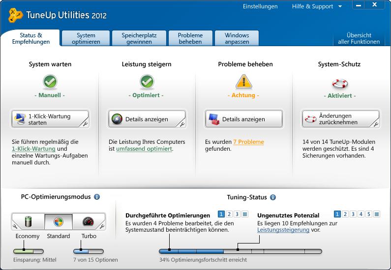 TuneUp Utilities 2012 Screenshot
