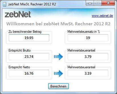 MwSt. Rechner Screenshot