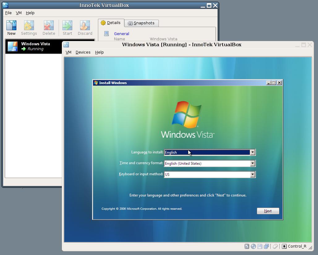 VirtualBox 5.1.26 Screenshot