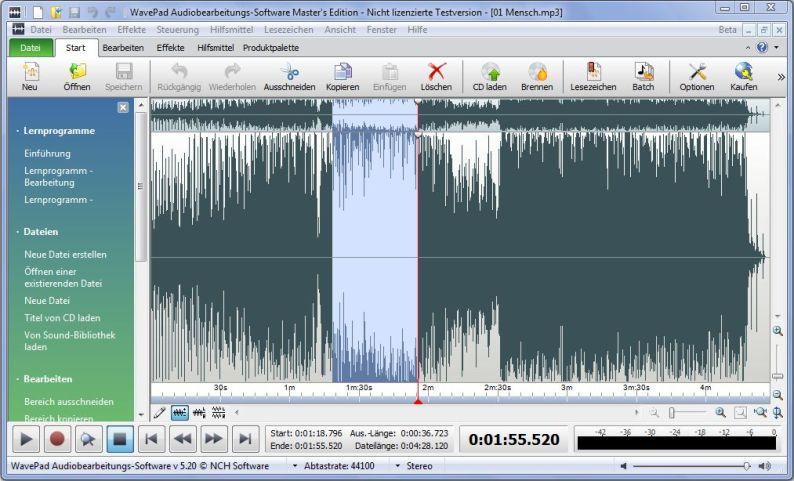 Wavepad Audio-Editor Screenshot