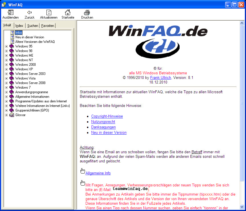 WinFAQ Screenshot
