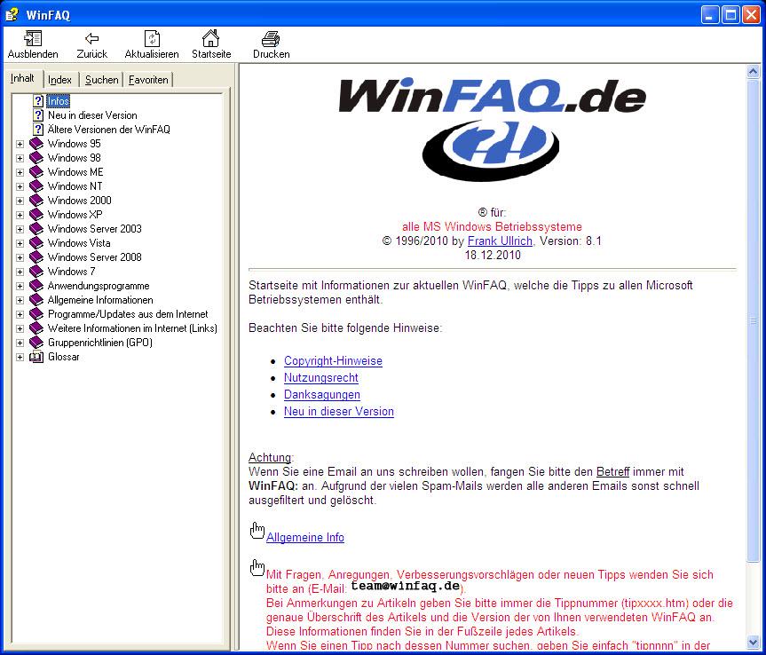 WinFAQ 8.5 Screenshot