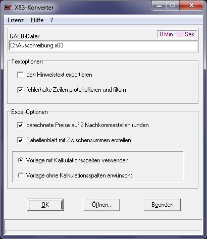 X83-Konverter / D84-Generator 2.14.02 Screenshot