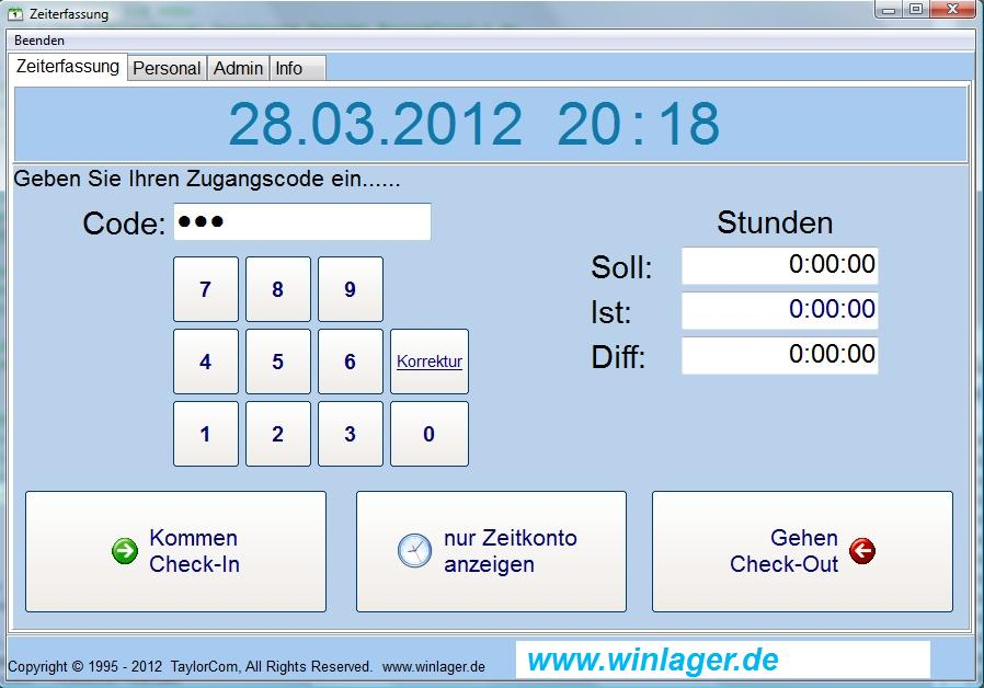 Zeiterfassung 1.6 Screenshot