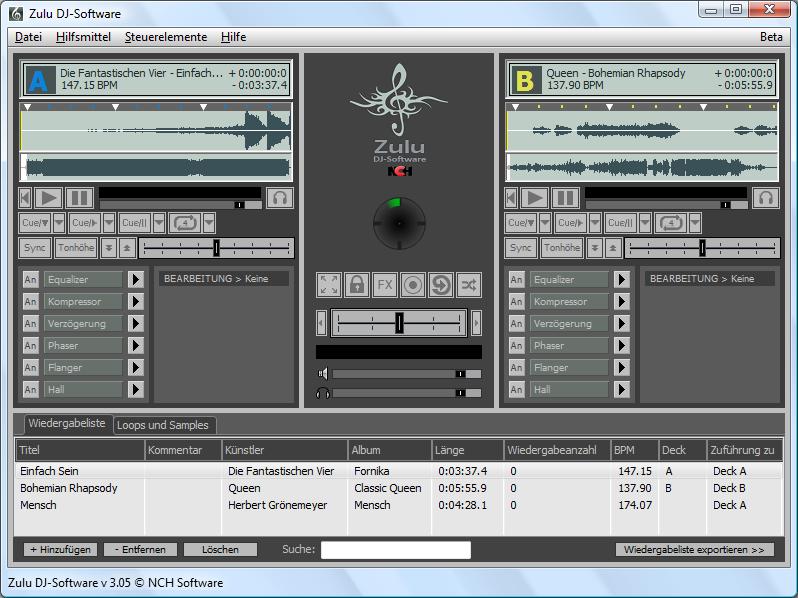 Zulu Professionelle DJ Software Screenshot